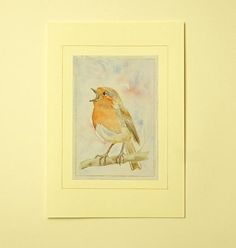 Unique hand painted watercolour robin giftcard