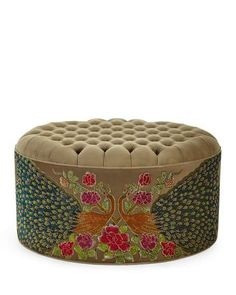 Shop Round Peacock Ottoman from Haute House at Horchow, where you'll find new lower shipping on hundreds of home furnishings and gifts. Pink Ottoman, Wicker Ottoman, Leather Ottoman, Chair And Ottoman, My Living Room, Living Room Chairs, Pouf Footstool, Whimsical Painted Furniture, Comfy Armchair
