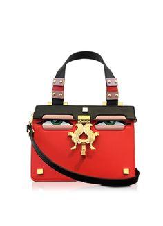 Giancarlo Petriglia Mini Peggy Red Brushed Leather Eyes Bag