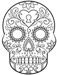 Tag der Toten oder Halloween Totenkopf zum Ausmalen - Zuckerschädel Ausmalbild *** Sugar Skull - Halloween Dia de los Muertos Coloring Pages