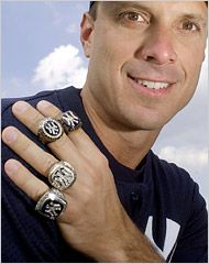 Tino Martinez and his 4 World Championship rings he won as a member of the Yankees dynasty of the 90s.