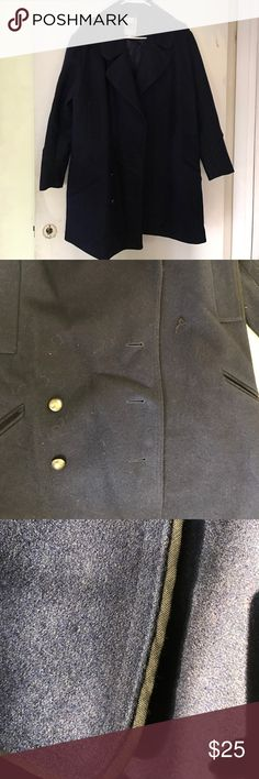 BB DAKOTA Boyfriend Military Wool Coat Navy with large military inspired lapels and black piping detail, has four huge pockets... HOWEVER, as pictured, unfortunately the jacket is missing a few buttons. They can be changed if you're willing to do it! The jacket is a cocoon shape and great for layered looks! BB Dakota Jackets & Coats