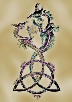 SciFi and Fantasy Art Triquetra Dragons by Amanda Grace Magdalena Racz