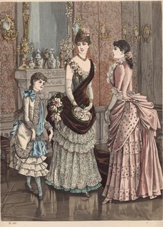 Party dresses and evening gowns, 1885.