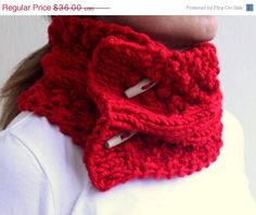 ON SALE Red Cable Chunky Cowl  Scarlet Pomegranate Apple  Neck Warmers Scarf With Buttons. $27.00, via Etsy.