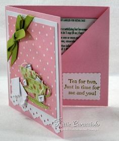 Tea bag holder or gift tag Fancy Fold Cards, Folded Cards, Sta Rita, Coffee Cards, Card Tutorials, Greeting Cards Handmade, Diy Cards, Scrapbook Cards, Card Templates