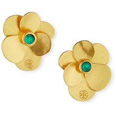 Tory Burch Golden Flower Petal Stud Earrings ($95) ❤ liked on Polyvore featuring jewelry, earrings, gold, golden jewelry, golden earring, tory burch, tory burch earrings and stud earrings