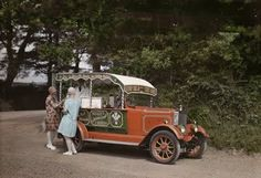 Two 1920s women buying ice cream - Cornwall 1928 - National Geographic