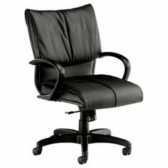 Sitwell Engage Midback Conference Chair  SKU: E-35-BLK Perfect for executive management, conferencing and guest. • In-stock black or brown top grain glove leather • Ships KD with minimal assembly • Durable poly arms • Deluxe knee tilt control