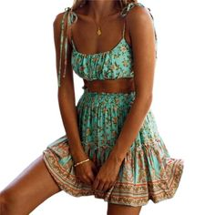 Two Piece Floral Skirt & Cami Set  Adorable Summer Prettiness Perfect for teens Spring Break Crop Bikini Top & Floating, Swing Mini Skirt Two Great Color Combos  Come and Visit our site: workingwhatnot.com/ Slip Skirts, Mini Skirts, Summer Dresses For Women, Summer Outfits, Summer Clothes, Trendy Outfits, Short Sundress, Boho Mini Dress, Cami Set