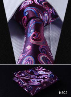 Hisdern Silk Necktie and Pocket Square Set
