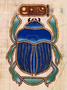 Papyrus égyptien représentant un scarabée Banque d'images