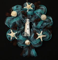 Cape Cod Shores Deco Mesh Wreath beaches, craft, lighthouses, colors, beach wreath, deco mesh wreaths, bathroom, lighthous wreath, coral reefs