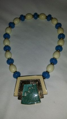 Vintage Trifari gold plate blue and white  enameled  Egyptian inspired necklace  #Trifari