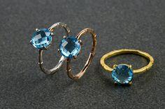 Φυσικό Λονδίνο μπλε Topaz δαχτυλίδι 925 ασημένιο δαχτυλίδι πολύτιμων λίθων