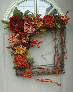Autumn Beauty.....Fall Wreath, Autumn Wreath, Summer Grapevine square wreath - Gorgeous for year round use... by bndd on Etsy