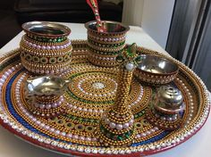 Pooja Thali Small 9 inch with all item - Bell - Two small bowl - Agarbati stand - diva stand - achmani - small Lota Arti Thali Decoration, Kalash Decoration, Diy Diwali Decorations, Festival Decorations, Coconut Decoration, Janmashtami Decoration, Acrylic Rangoli, Indian Wedding Favors, Marriage Decoration