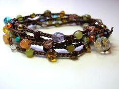 "Glass and semi-precious stones, crochet cord, 35"" long 3Divas Studio"