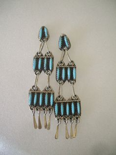 Vintage ZUNI Sterling Silver & TURQUOISE Needlepoint Chandelier Ladder EARRINGS