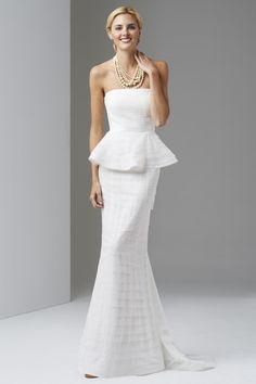 For the preppy bride - shutter peplum gown: http://www.stylemepretty.com/lookbook/designer/adrianna-papell/ #SMPLookBook
