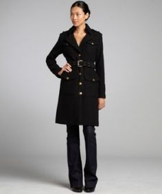 black wool bouclé military style belted trench Mid-weight wool bouclé Notched collar with hook closure Full button front with four button flap pockets Epaulets at shoulders; long sleeve with functional four button cuff Double prong, grommeted belted waist Rear center vent    Regular Price: 795.00 USD  Best Price: 479.00 USD at Bluefly