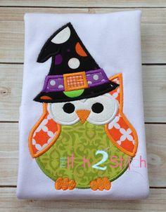 Owl Witch Applique Frame