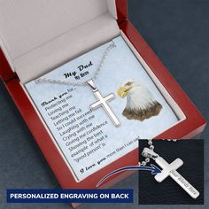 My Dad, My Hero ENGRAVED CROSS Stainless Steel Necklace - Give a Custom Gift to Your Father - Mahogany Style Luxury Box
