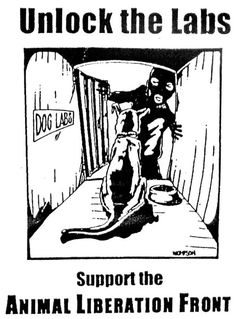 Support The Animal Liberation Front - think about animal experiments this way: nothing has been discovered to cure anything since they started & more people get ill because animals are not the same as humans, FACT.