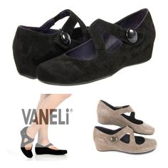 The VanEli Matro is a dressy low-heeled wedge that comes in multiple widths! Great reviews for comfort.