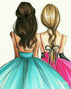 Share with your best friends! Best Friend Sketches, Friends Sketch, Best Friend Drawings, Girl Drawing Sketches, Cute Girl Drawing, Girly Drawings, Pencil Art Drawings, Love Drawings, Bff Pics
