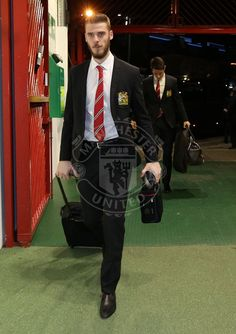 David De Gea arrives at Old Trafford ahead match v Stoke City