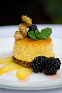 Keri Dean, Bayona: Mango Cheesecake Flan, Pistachio Crust, Blackberries, Ginger-Mint Syrup, Mango, and Pistachio Tuile Breakfast Lunch Dinner, Dessert For Dinner, Dessert Ideas, Cake Recipes, Dessert Recipes, Mango Cheesecake, Mango Cake, Romantic Meals, Mango Recipes