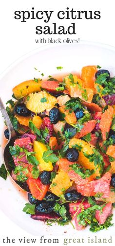 Spicy Citrus Salad with Black Olives ~ this glorious salad in the Mediterranean tradition is an experience not to be missed. It's proof positive that not all fabulous salads are leafy and green! Citrus Recipes, Best Salad Recipes, Potluck Recipes, Salad Dressing Recipes, Healthy Salad Recipes, Beef Recipes, Recipes With Cool Whip, Great Recipes, Fish Salad