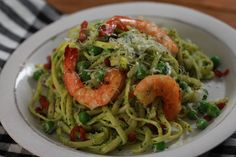 YUM! Kale & Pea Pesto Pasta with grilled shrimp! Learn how to make this recipe in under 30 minutes on #RealGirlsKitchen on Ora.TV!