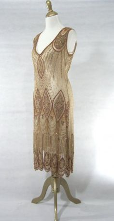 The Vamp Pale Gold : Beaded 1920's Style Gowns, Art Deco Gowns, 20's Flapper Fringe Dresses, Vintage Daywear, Hollywood Reproductions..... from LeLuxe Clothing