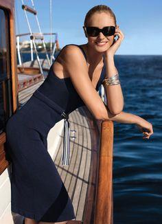 La robe en jersey bleu chiné Elégance de la Boutique Elegance Paris prix 153,00 € TTC au lieu de 255,00 €