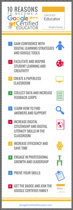 "10 Reasons to Become a Google Certified Educator: Want to know what all the fuss is about? I am asked this question all the time, ""What are the benefits to becoming a Google Certified Educator?"" So I put together this handy infographic and video to talk about the 10 Reasons to Become a Google Certified Educator."