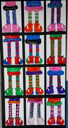3rd graders designed symmetrical elf legs with both their legs and boots having the same details and colors.