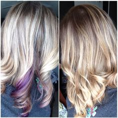 My hair: blonde ombré with purple peekaboo