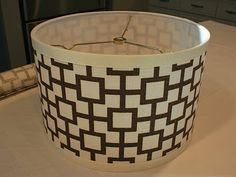 DIY Fabric Drumshade - I am totally doing this to our drumshade in our kitchen nook!  Can't wait!!