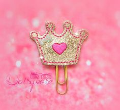 GOLD CROWN Glitter Paper Clip in gold and by LittleMissDaisyrose