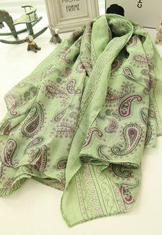 $15.99 [grzxy6600126]Retro Folk Style Paisley Print Scarf | cheershop - Clothing on ArtFire