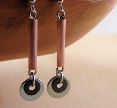 Copper Dangle Earring Hardware Jewelry Long Mixed Metal Eco Friendly Earrings. $14.00, via Etsy.