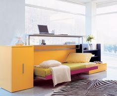 beautiful mutifunctional furniture interior design for small spaces in tangerine orange storage cabinet plus folding bed beautiful furniture small spaces beautiful folding