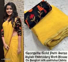 Best 12 Yellow Color Solid Georgette Saree Golden Foil Border With Unstitched Blouse – SkillOfKing. Trendy Sarees, Stylish Sarees, Simple Sarees, Fancy Sarees, Sari Blouse Designs, Saree Blouse Patterns, Saree Embroidery Design, Saree Trends, Saree Models