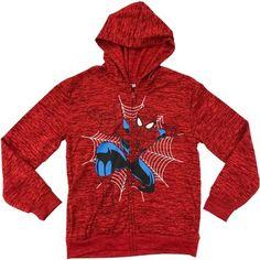 Marvel Ultimate Spiderman Boys Full Zip Fleece Hoodie With Space Dye, Size: 8, Red