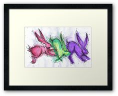 colourful jumping hares rabbits by salixpyrography