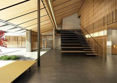 Image 8 of 15 from gallery of Kengo Kuma Designs Cultural Village for Portland Japanese Garden. Photograph by Kengo Kuma & Associates Stairs Architecture, Japanese Architecture, Amazing Architecture, Architecture Details, Interior Architecture, Kengo Kuma, Japanese House, Japanese Modern, Japanese Gardens