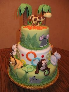 Jungle animal baby shower cake By judylic on CakeCentral.com