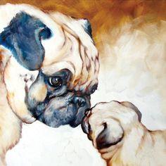 Pug dog art by Marcia Baldwin, 2009 Black Pug Puppies, Pug Art, Watercolor Animals, Watercolor Paintings, Pug Love, Animal Paintings, Art Paintings, Wrapped Canvas, Cute Animals